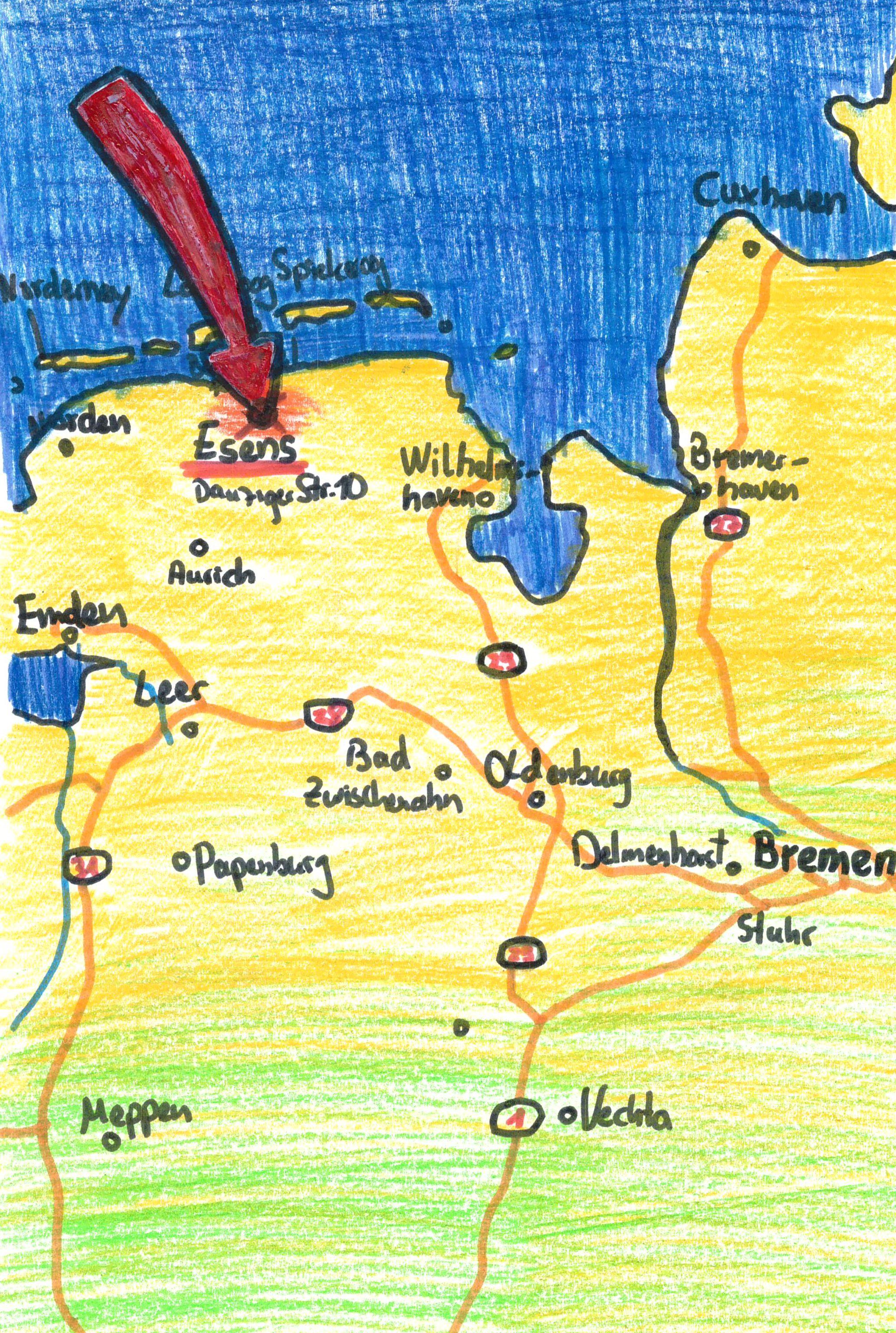 Skizze von der Lage der Ferienwohnung an der Nordsee